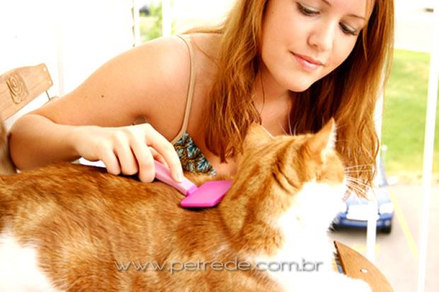 mulher-escovando-gato-petrede